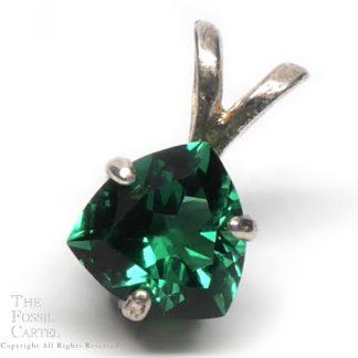 Emerald Obsidianite Trilliant Cut Pendant