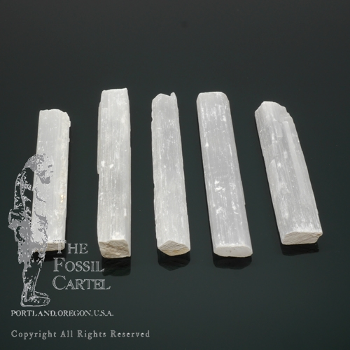 Rough selenite sticks varying in size against a black background