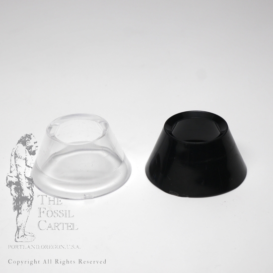 Black and clear acrylic cone stands against a white background