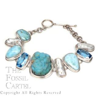 Hemimorphite, Larimar, Pearl, and Blue Topaz Sterling Silver Bracelet