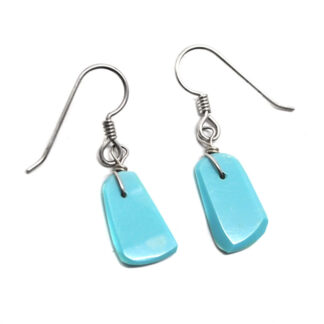 A pair of kingman turquoise sterling silver earrings against a white background
