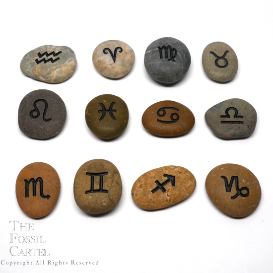 Astrology etched stones