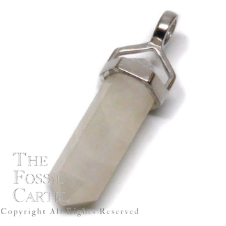 A simple moonstone crystal pendant with a silver bail against a white background