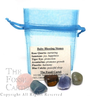 "Five different small crystals and stones on a blank surface in front of a card titled ""Baby Blessing Stones"" listing details of the stones that lay in front. The info card is leaning against an empty drawstring organza pouch."