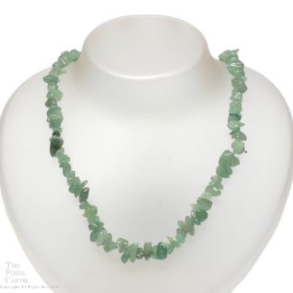 A necklace made of tumbled green aventurine chips against a white background