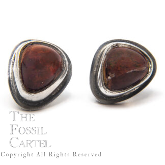 Mexican Fire Opal Sterling Silver Stud Earrings