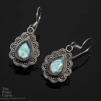 Labradorite Faceted Teardrop Sterling Silver Earrings