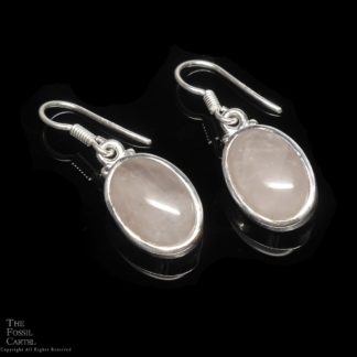 Rose Quartz Oval Cabochon Sterling Silver Earrings