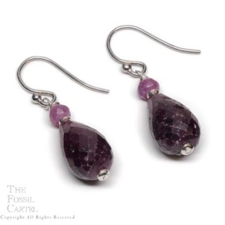 Ruby Briolette Sterling Silver Earrings