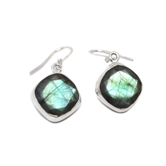 A pair of faceted labradorite sterling silver earrings against a white background