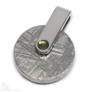 Muonionalusta Meteorite Slice and Moldavite Sterling Silver Pendant