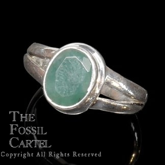 Emerald Oval Faceted Sterling Silver Ring; Sizes 6 and 9