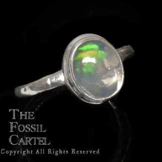 Ethiopian Opal Oval Shaped Sterling Silver Ring