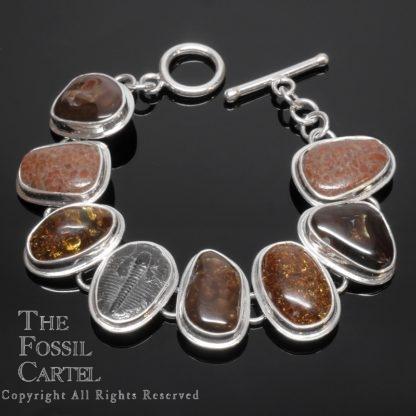 Fire Agate, Amber, Dinosaur Bone Fossil, and Trilobite Fossil Sterling Silver Bracelet