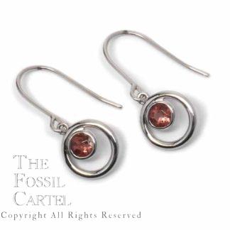 Oregon Sunstone Circular Sterling Silver Earrings