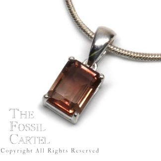 Oregon Sunstone Faceted Emerald Cut Sterling Silver Pendant