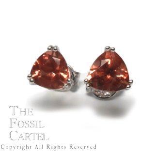Oregon Sunstone Trilliant Cut Sterling Silver Stud Earrings