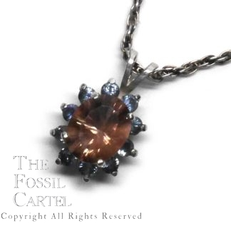 Oregon Sunstone and Montana Sapphire Sterling Silver Halo Pendant