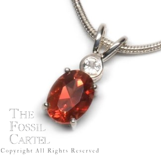 Oval Cut Oregon Sunstone and White Topaz Sterling Silver Pendant