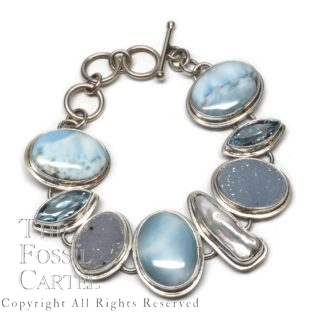 Larimar, Druzy Agate, Freshwater Pearl and Blue Topaz Sterling Silver Bracelet