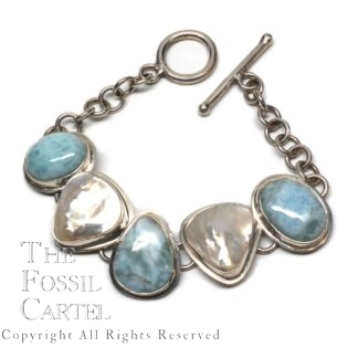 Larimar and Mother of Pearl Sterling Silver Bracelet