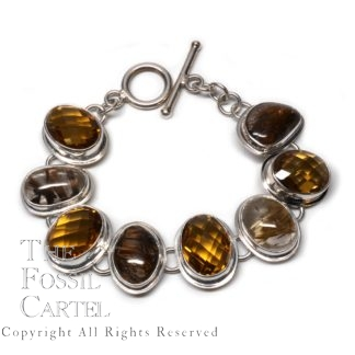 Citrine and Rutilated Quartz Sterling Silver Bracelet
