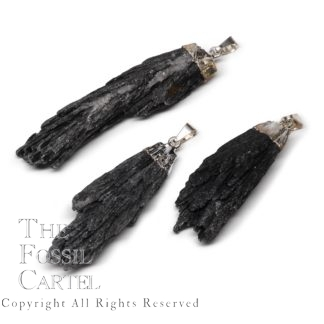 Black Fan Kyanite Capped Crystal Pendant