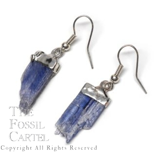 Blue Kyanite Capped Crystal Earrings