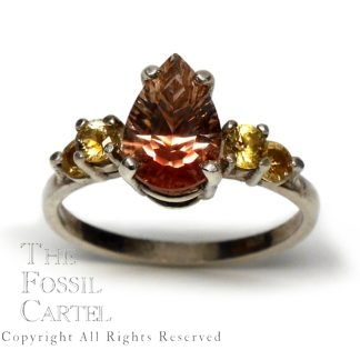 Pear Cut Oregon Sunstone and Yellow Montana Sapphire Sterling Silver Ring