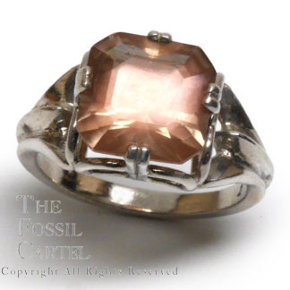 Oregon Sunstone Square Cut Sterling Silver Ring; Size 7