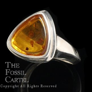 Amber Triangle Cabochon Sterling Silver Ring