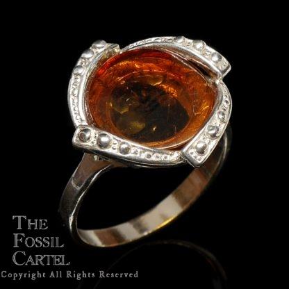 Amber Circular Cabochon Sterling Silver Ring
