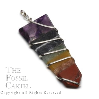 Chakra Wire Wrapped Flat Crystal Pendant
