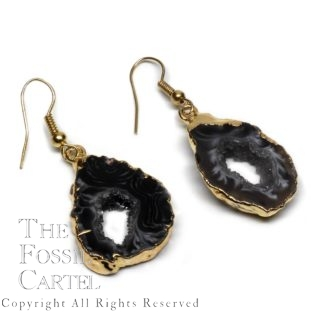 Oco Geode Earrings Gold Dark