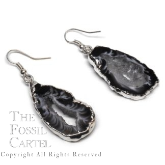 Oco Geode Earrings Silver Dark
