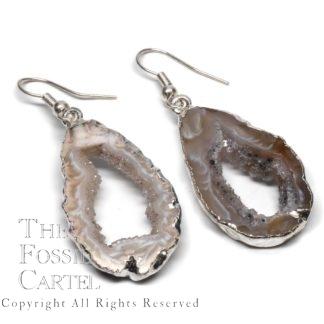 Oco Geode Earrings Silver Light