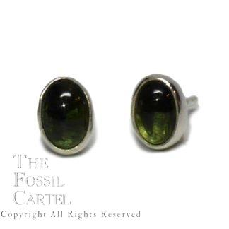 Green Tourmaline Oval Cabochon Sterling Silver Stud Earrings