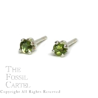 Green Tourmaline Faceted Round Sterling Silver Stud Earrings