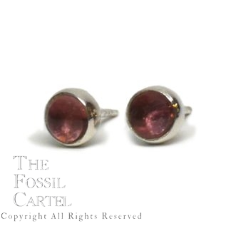 Pink Tourmaline Round Cabochon Sterling Silver Stud Earrings against a white background