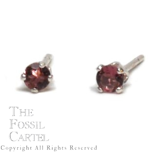 Pink Tourmaline Faceted Round Stud Sterling Silver Earrings