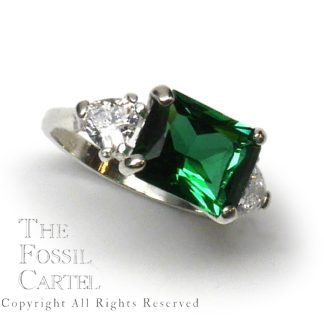 Mt. St. Helens Emerald Obsidianite East-West Emerald-Cut Sterling Silver Ring with CZ Accents