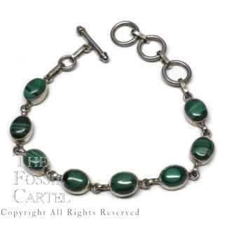 Malachite Oval Sterling Silver Bracelet