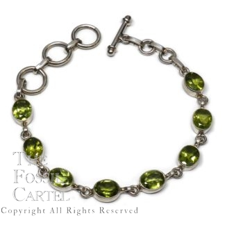 Peridot Oval Faceted Sterling Silver Bracelet