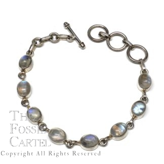 Rainbow Moonstone Oval Cabochon Sterling Silver Bracelet