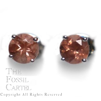 Oregon Sunstone Faceted Round Cut Sterling Silver Stud Earrings