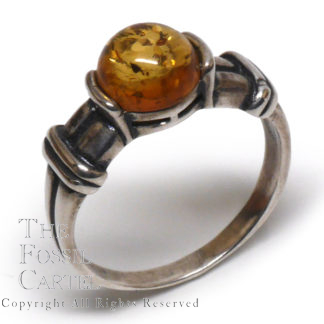 Amber Circle Sterling Silver Ring