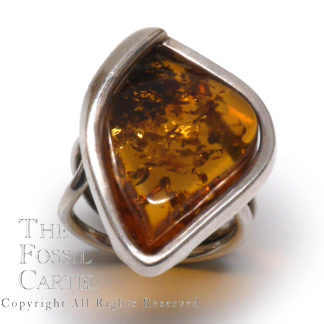 Amber Freeform Sterling Silver Ring