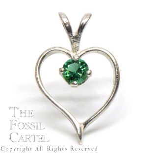 Mt. St. Helens Emerald Obsidianite Heart Shaped Sterling Silver Pendant