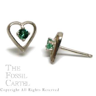 Emerald Obsidianite Heart Stud Earrings