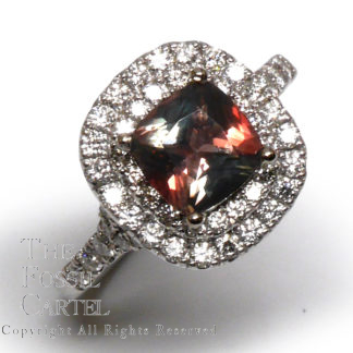 Oregon Sunstone and Diamond Halo 14kt White Gold Ring; Size 7